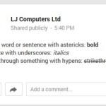 Google+ Font Formatting