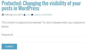 Password Protected Post or Page