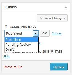 Pulished Edit Post Status in WordPress