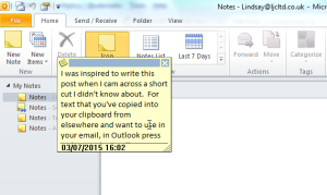 Outlook Copy and Paste Shortcut